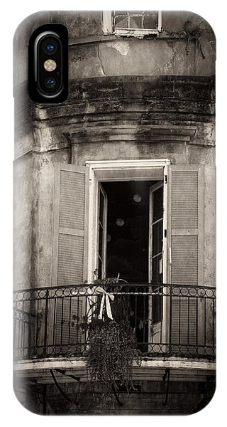 French Quarter Balcony In Black And White IPhone Case