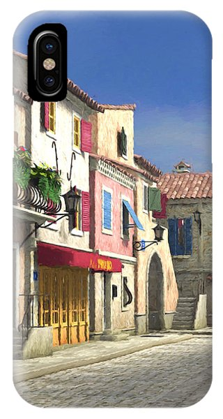 French Village Scene With Cobblestone Street IPhone Case