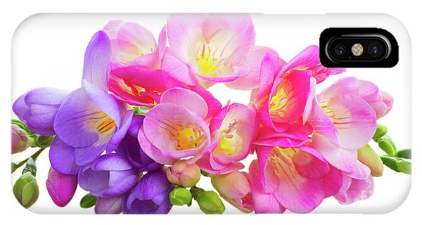 Fresh Pink And Violet Freesia Flowers IPhone Case