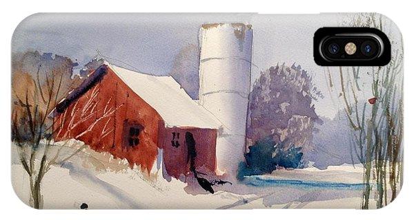 New England Barn iPhone Case - Fresh Snowfall by Charles Rowland