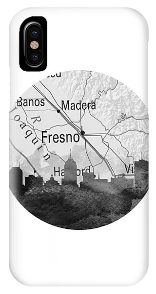 Fresno Silhouette iPhone Case - Fresno California 11rd by Aged Pixel