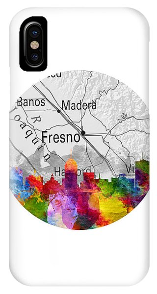 Fresno Silhouette iPhone Case - Fresno California 13rd by Aged Pixel