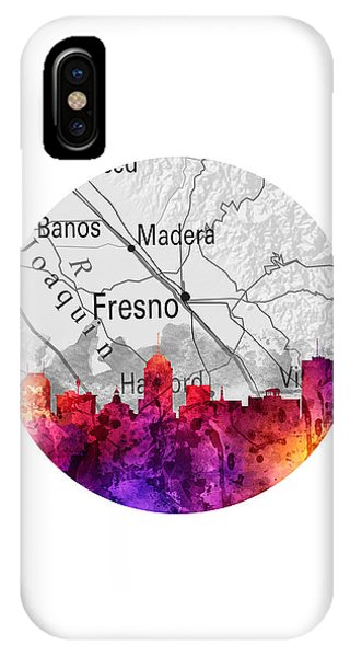 Fresno Silhouette iPhone Case - Fresno California 14rd by Aged Pixel