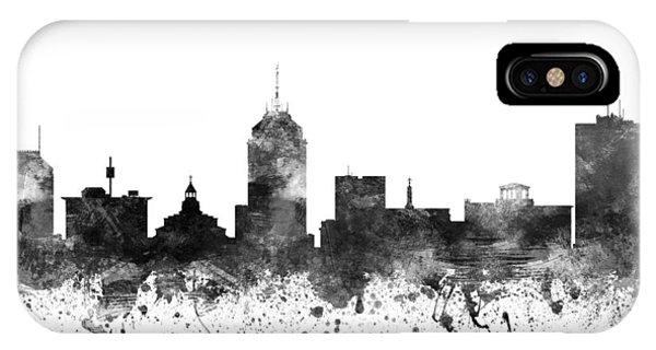 Fresno Silhouette iPhone Case - Fresno California Cityscape 02bw by Aged Pixel