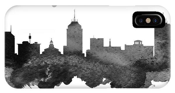 Fresno Silhouette iPhone Case - Fresno California Skyline 18 by Aged Pixel