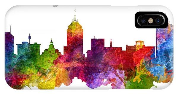 Fresno Silhouette iPhone Case - Fresno California Skyline 23 by Aged Pixel
