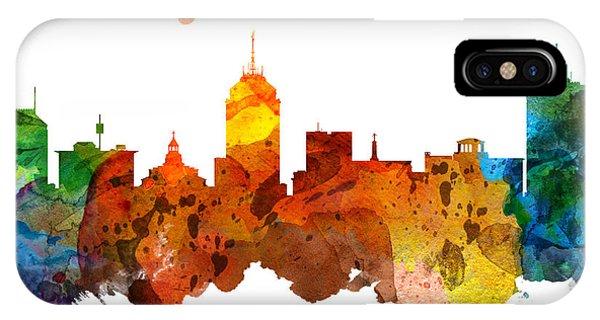 Fresno Silhouette iPhone Case - Fresno California Skyline 26 by Aged Pixel