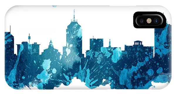 Fresno Silhouette iPhone Case - Fresno California Skyline 27 by Aged Pixel