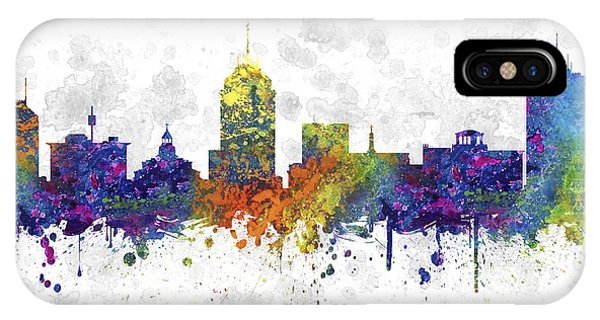 Fresno Silhouette iPhone Case - Fresno California Skyline Color 03sq by Aged Pixel