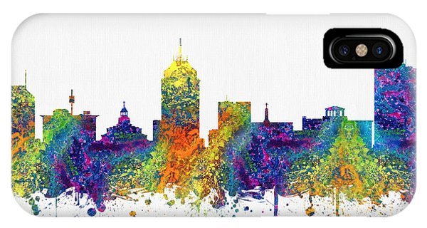 Fresno Silhouette iPhone Case - Fresno California Skyline Color03 by Aged Pixel