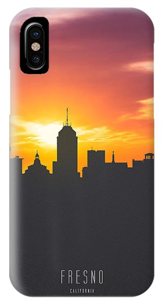 Fresno Silhouette iPhone Case - Fresno California Sunset Skyline 01 by Aged Pixel