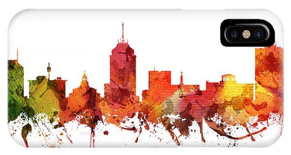 Fresno Silhouette iPhone Case - Fresno Cityscape 04 by Aged Pixel
