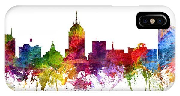 Fresno Silhouette iPhone Case - Fresno Cityscape 06 by Aged Pixel