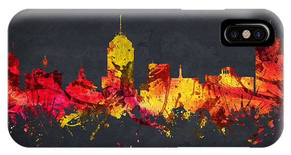 Fresno Silhouette iPhone Case - Fresno Cityscape 07 by Aged Pixel