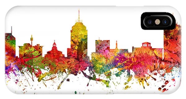 Fresno Silhouette iPhone Case - Fresno Cityscape 08 by Aged Pixel