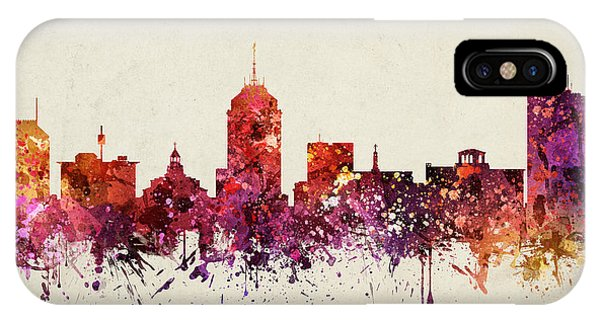 Fresno Silhouette iPhone Case - Fresno Cityscape 09 by Aged Pixel