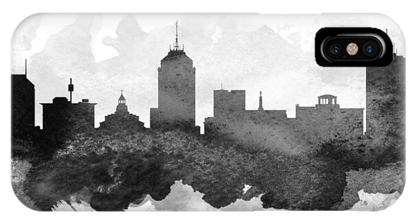 Fresno Silhouette iPhone Case - Fresno Cityscape 11 by Aged Pixel
