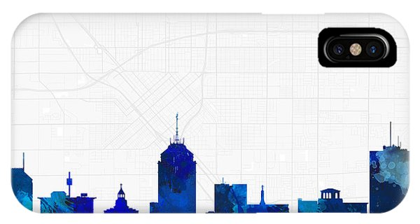 Fresno Silhouette iPhone Case - Fresno Cityscape And Streetmap Blue Skyline by Jurq Studio
