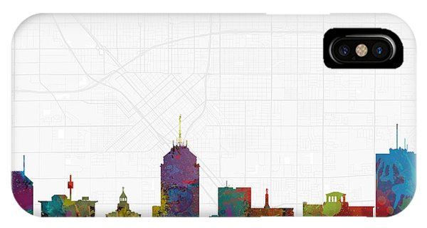 Fresno Silhouette iPhone Case - Fresno Cityscape And Streetmap Skyline by Jurq Studio