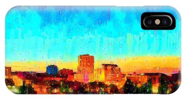 Fresno Silhouette iPhone Case - Fresno Skyline 100 - Da by Leonardo Digenio