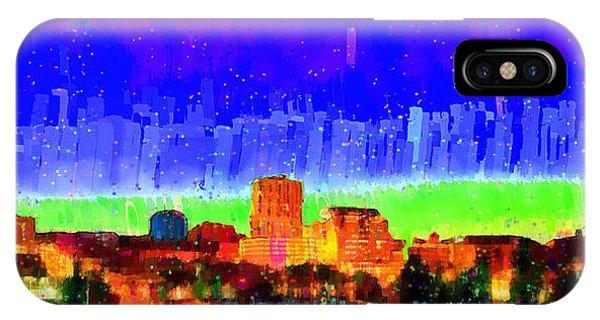 Fresno Silhouette iPhone Case - Fresno Skyline 102 - Pa by Leonardo Digenio