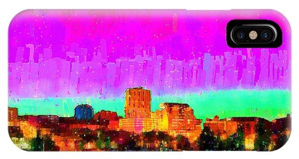 Fresno Silhouette iPhone Case - Fresno Skyline 103 - Pa by Leonardo Digenio