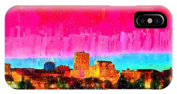 Fresno Silhouette iPhone Case - Fresno Skyline 104 - Pa by Leonardo Digenio