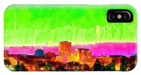 Fresno Silhouette iPhone Case - Fresno Skyline 107 - Da by Leonardo Digenio