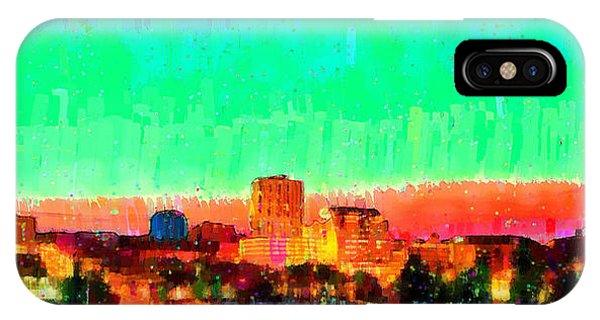 Fresno Silhouette iPhone Case - Fresno Skyline 108 - Da by Leonardo Digenio
