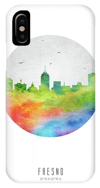 Fresno Silhouette iPhone Case - Fresno Skyline Uscafr20 by Aged Pixel