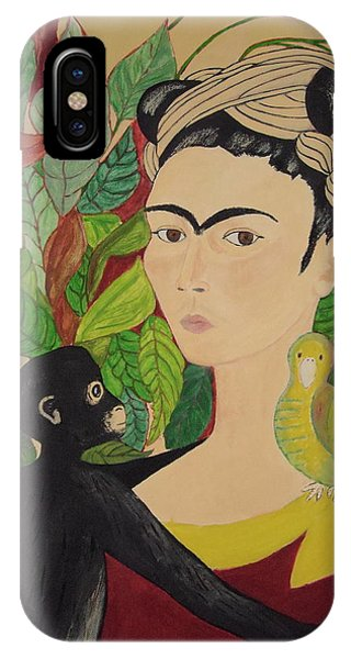 Frida With Monkey And Bird IPhone Case