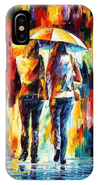 Afremov iPhone X Case - Friends Under The Rain by Leonid Afremov