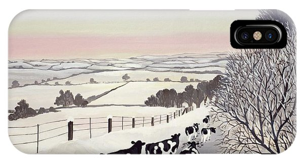 Cow iPhone X / XS Case - Friesians In Winter by Maggie Rowe