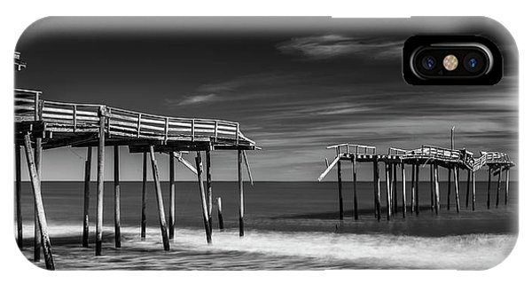 IPhone Case featuring the photograph Frisco Fishing Pier In Black And White Panorama by Ranjay Mitra