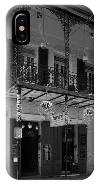 Bloody Mary iPhone Case - Fritzel's European Jazz Pub In Black And White by Chrystal Mimbs