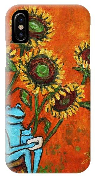 Frog I Padding Amongst Sunflowers IPhone Case