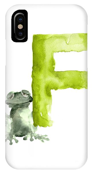 Frogs iPhone Case - Frog Watercolor Alphabet Painting by Joanna Szmerdt