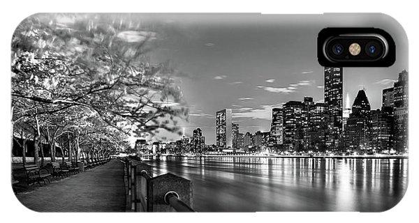 Park Bench iPhone Case - Front Row Roosevelt Island by Az Jackson
