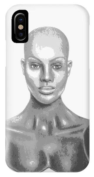 Bald Superficial Woman Mannequin Art Drawing  IPhone Case