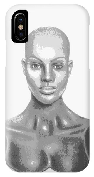 Superficial Bald Woman Art Charcoal Drawing  IPhone Case