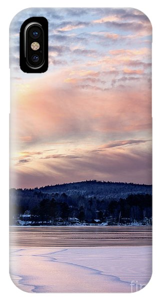 Frozen Lake Sunset In Wilton Maine  -78096-78097 IPhone Case