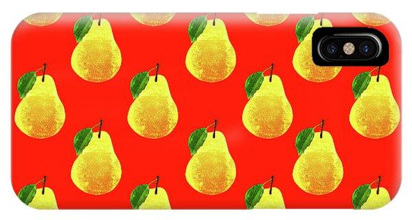 Pear iPhone Case - Fruit 03_pear_pattern by Bobbi Freelance