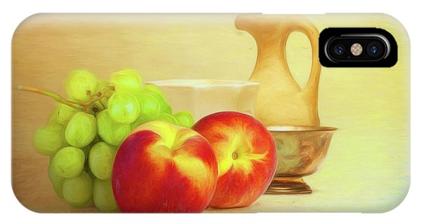 Peach iPhone Case - Fruit And Dishware Still Life by Tom Mc Nemar