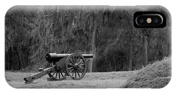 Ft. Mcallister Cannon 2 Black And White IPhone Case