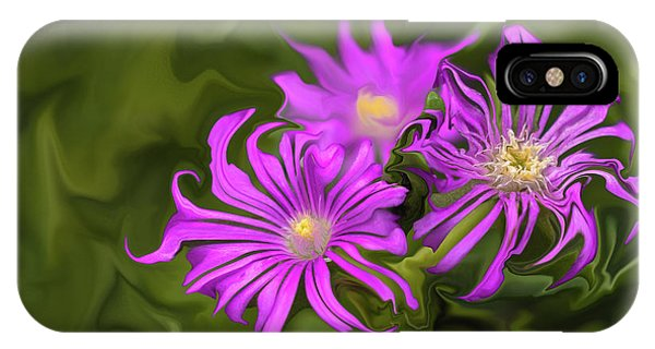 IPhone Case featuring the digital art Fuchsia Flower - Digital Painting by Cristina Stefan