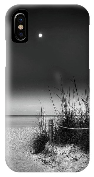 Full Moon Beach In Black And White IPhone Case