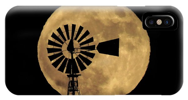 Full Moon Behind Windmill IPhone Case