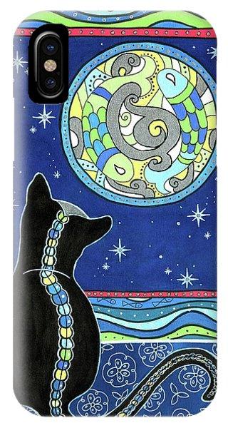 Pisces Cat Zodiac - Full Moon IPhone Case
