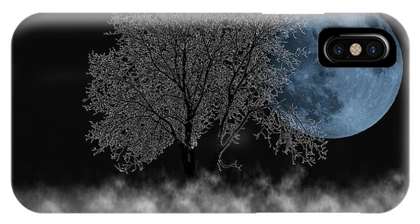 Full Moon Over Iced Tree IPhone Case