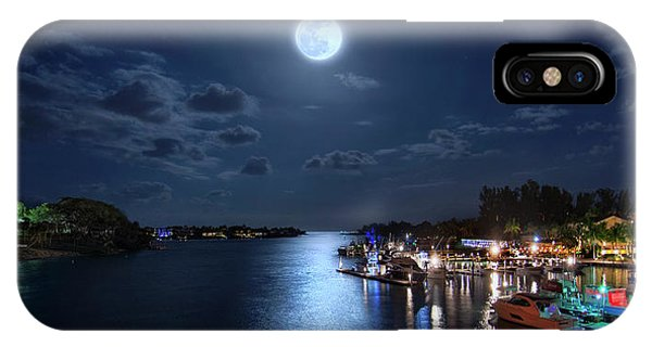 Full Moon Over Jupiter Lighthouse And Inlet In Florida IPhone Case